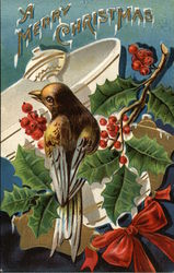 A Merry Christmas with Bird on Holly