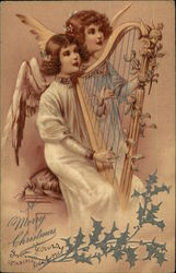 A Merry Christmas with Two Angels Playing Harp