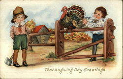 Two Little Boys and a Turkey in Rural Setting