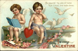 To My Valentine with Two Cherubs and White Doves