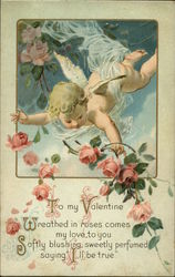To My Valentine with Cupid and Pink Roses