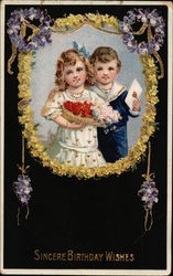 Sincere Birthday Wishes with Boy & Girl and Floral Wreath