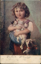 Little Girl Holding Three Kittens