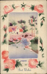 Pretty Scene with Bridge, Babbling Brook, and Roses