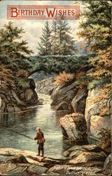 Birthday Wishes, a man catching fish under Pont-y-Pair Bridge