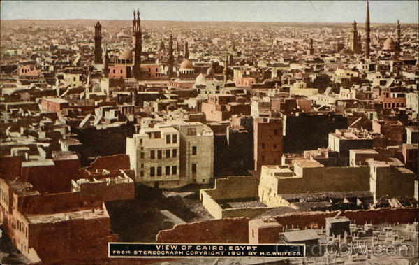 View of Cairo from stereograph copyright 1901 by H.C. White Co Egypt