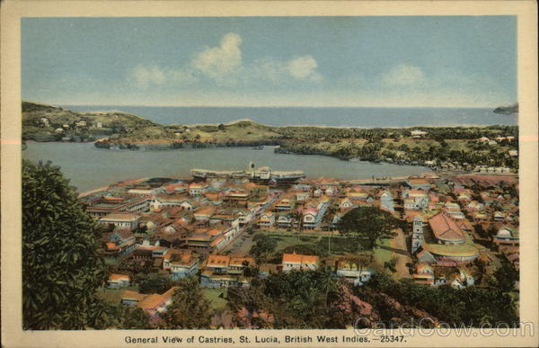 General View of Town Castries St. Lucia Caribbean Islands