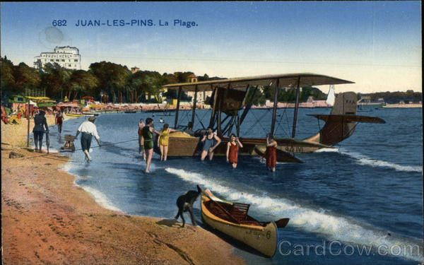 france juan les pins la plage beach postcard ebay. Black Bedroom Furniture Sets. Home Design Ideas