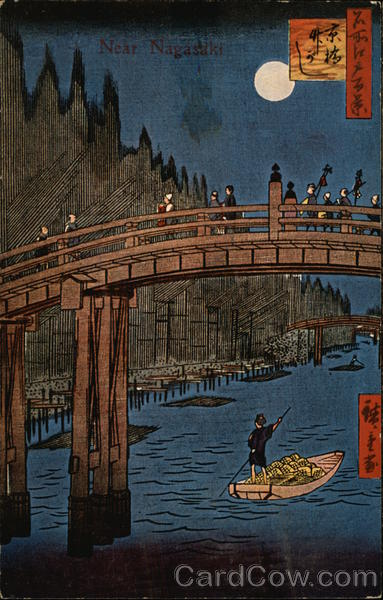 Near Nagasaki, With Bridge And Boatman On River Japan
