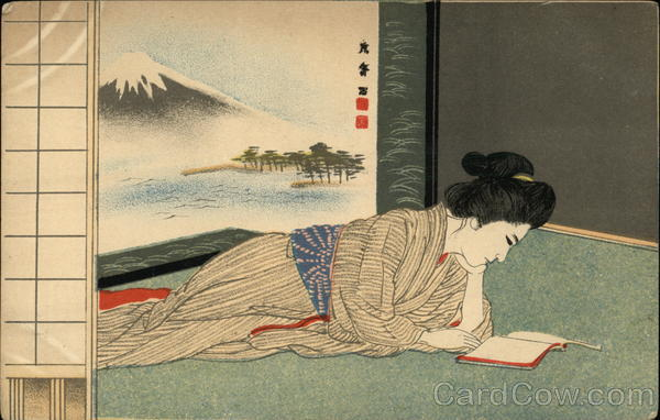 Japanese Woman Reads a Book, Mt. Fuji in Background