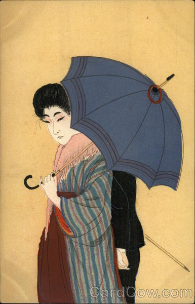 Japanese Woman with Blue Umbrella Asian