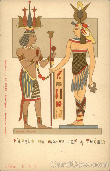 Ancient Egyptian Woman and Man Wearing Elaborate Clothing