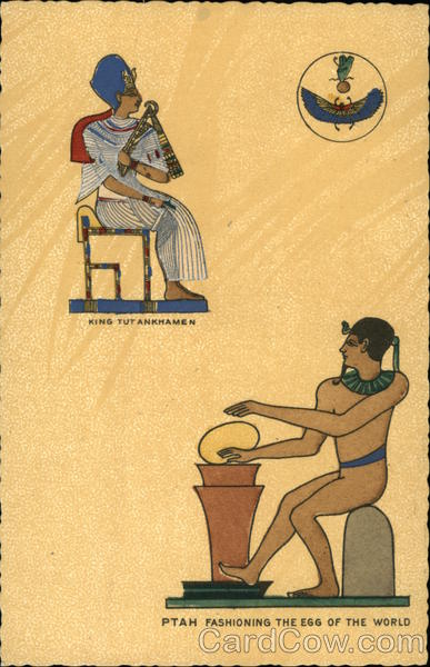 Ptah Fashioning The Egg Of The World, With King Tutankhamen Egypt
