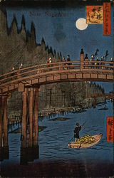 Near Nagasaki, With Bridge And Boatman On River Postcard
