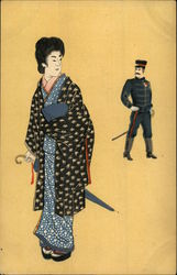 Japanese Geisha and Soldier
