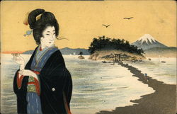 Japanese woman on the beach