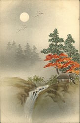 Japanese Landscape Drawing in Colors