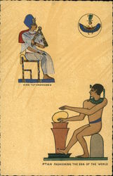 Ptah Fashioning The Egg Of The World, With King Tutankhamen