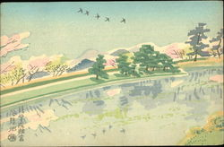 A painting of a landscape of a river with geese flying overhead.
