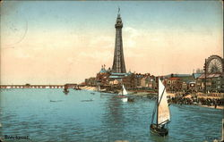 View of Beach and Tower Postcard