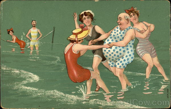 Three Young Ladies Dancing With A Old Fat Man In Sea Water