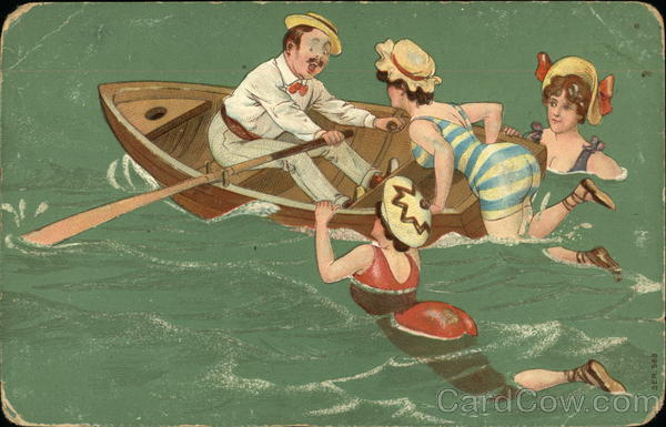 Three Women Climbing Into Boat Rowed By Man Swimsuits Amp Pinup