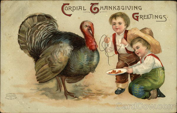 Cordial Thanksgiving Greetings with Turkey and Boys