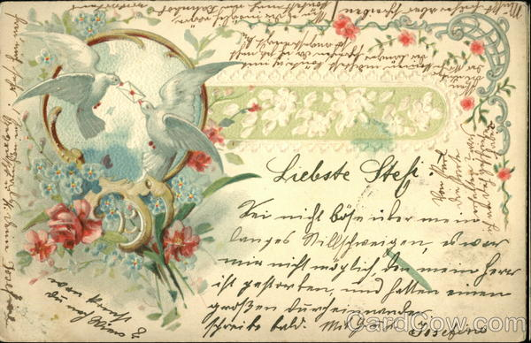 Two Doves Delivering Letter Framed by Flowers Greetings