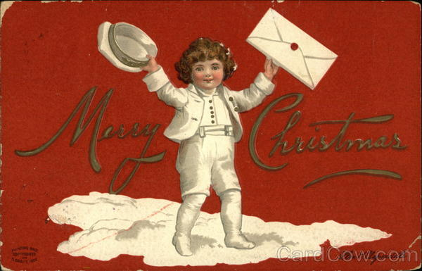 A boy in White Dress with an Envelope Santa Claus