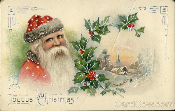 A Joyous Christmas with Santa and Snow Scene Santa Claus