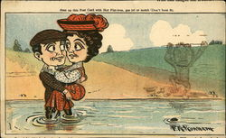 A english man carries a lady over a pond Postcard