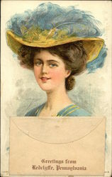Glamour Woman with Blue Hat
