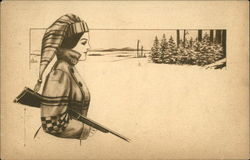 Female Hunter with Shotgun in Winter