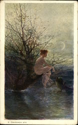 Naked Fairy Girl In Tree Overlooking Water