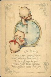 A Clock to Wish you Happy Time and Merry Kewpies too to Bring my Hopes that New Year Hours