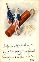 Uncle Sam, American Flag and Firecracker, N.Y. 7-4-06