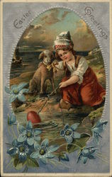 Child with lamb holding stick with egg on end of it in water