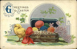 Greetings for Easter with Eggs and Chick