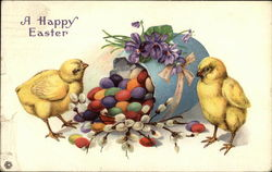 A Happy Easter with Chicks and Egg