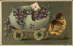 Easter Greetings with Chick and Egg Wagon