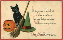 If you Dream of a Black Cat a Hat and a Broom 'Tis a Sign That Your Wishes Will Come True Quite Soon