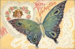 Be My Valentine with Butterfly, Roses and Heart