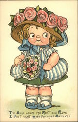 A Girl with Bright Eyes with a Bouquet of Flowers Postcard