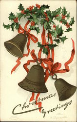 Christmas Greetings with Holly, Bells, and Red Ribbon