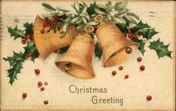 Christmas Greeting with Golden Bells and Holly
