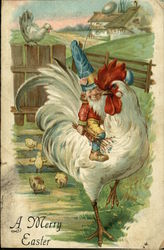 Elf Riding White Rooster on Farm