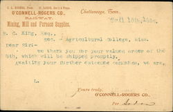 Order Receipt From O'Connell-Rogers Co. Railway