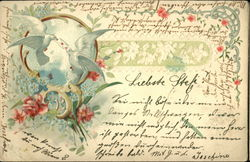Two Doves Delivering Letter Framed by Flowers
