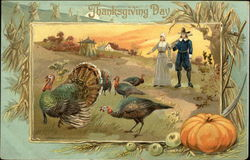 Thanksgiving Day with Turkeys and Pilgrims