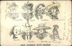 Pencil Drawing Caricatures of The Whole Dam Family